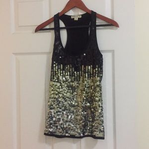 Black/gold/silver Sequined top